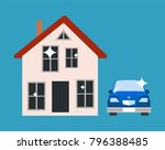 house with red roof  windows...   Shutterstock .eps vector #796388485