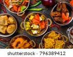 assorted indian food set on... | Shutterstock . vector #796389412