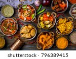 assorted indian food set on... | Shutterstock . vector #796389415