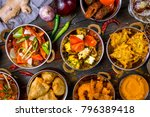 assorted indian food set on... | Shutterstock . vector #796389418