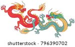 two chinese dragond fighting.... | Shutterstock .eps vector #796390702