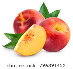 ripe peach fruit with leaf... | Shutterstock . vector #796391452