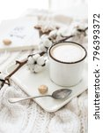 mug of hot drink with cotton... | Shutterstock . vector #796393372