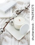 hand made candle with cotton... | Shutterstock . vector #796393375