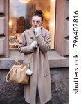 young beautiful woman street... | Shutterstock . vector #796402816