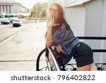 closeup summer street portrait... | Shutterstock . vector #796402822
