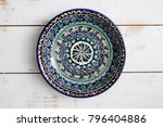 blank clean plate in moroccan... | Shutterstock . vector #796404886