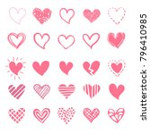 pink hearts for valentin's day. ... | Shutterstock .eps vector #796410985