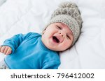 close up of smiling baby lying... | Shutterstock . vector #796412002