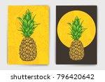 vector pineapple mock up set.... | Shutterstock .eps vector #796420642