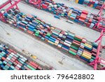 aerial view of container yard  ... | Shutterstock . vector #796428802
