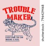 trouble maker tiger vector | Shutterstock .eps vector #796429468