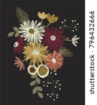 vintage flowers embroidery | Shutterstock .eps vector #796432666