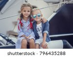 sister and brother in a marine...   Shutterstock . vector #796435288