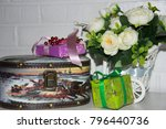 celebration  gifts and flowers. ... | Shutterstock . vector #796440736
