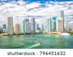 miami city skyline. yachts sail ... | Shutterstock . vector #796451632