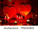 hearts and candles  red... | Shutterstock . vector #796452802