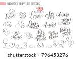 big set hand written lettering...   Shutterstock .eps vector #796453276