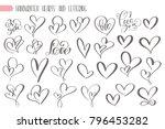 big set valentines day hand... | Shutterstock .eps vector #796453282