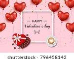 valentines day sale pink... | Shutterstock .eps vector #796458142