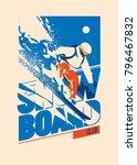 freeride snowboarder in motion. ... | Shutterstock .eps vector #796467832