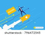 businessman is flying on a... | Shutterstock .eps vector #796472545