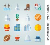 icon set about united states.... | Shutterstock .eps vector #796472806