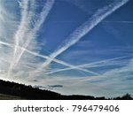 Small photo of Spectacular, blue sky with feathers clouds created by NATO air strike patrol in European Union above the Latvian airspace. Panoramic scene of contrasting colors, horizontal view with little grain.