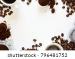 background with assorted coffee ... | Shutterstock . vector #796481752