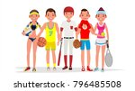 summer sports vector. set of... | Shutterstock .eps vector #796485508