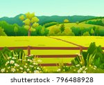 countryside landscape of grass... | Shutterstock .eps vector #796488928