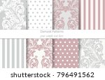 damask patterns set vector.... | Shutterstock .eps vector #796491562