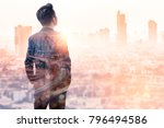 the double exposure image of... | Shutterstock . vector #796494586