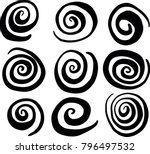 hand drawn swirl circle vectors | Shutterstock .eps vector #796497532