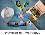 tax concept with wooden rustic... | Shutterstock . vector #796498822