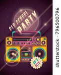 retro style party poster design ... | Shutterstock .eps vector #796500796