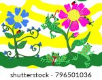 flowers and frogs. frogs are... | Shutterstock . vector #796501036