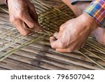 Old Man Hands Manually Weaving...