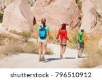 group of travelers walking by... | Shutterstock . vector #796510912
