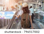 asian woman with backpack in... | Shutterstock . vector #796517002