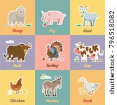 fun farm animals with sheep ... | Shutterstock .eps vector #796518082