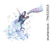 watercolor dinocorn. pastel... | Shutterstock . vector #796523515