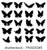 butterflies set. vector... | Shutterstock .eps vector #796525285