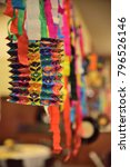 Small photo of Color paper lampion with ribbons
