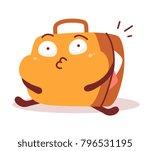 sticker fatty suitcase full of... | Shutterstock .eps vector #796531195