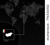 hungary on black world map. map ...   Shutterstock .eps vector #796536502
