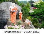 statues of monks on a rock with ... | Shutterstock . vector #796541362