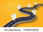 winding road on a white... | Shutterstock . vector #796542856