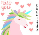 happy valentine cute unicorn... | Shutterstock .eps vector #796551502