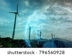 wind power station and global... | Shutterstock . vector #796560928